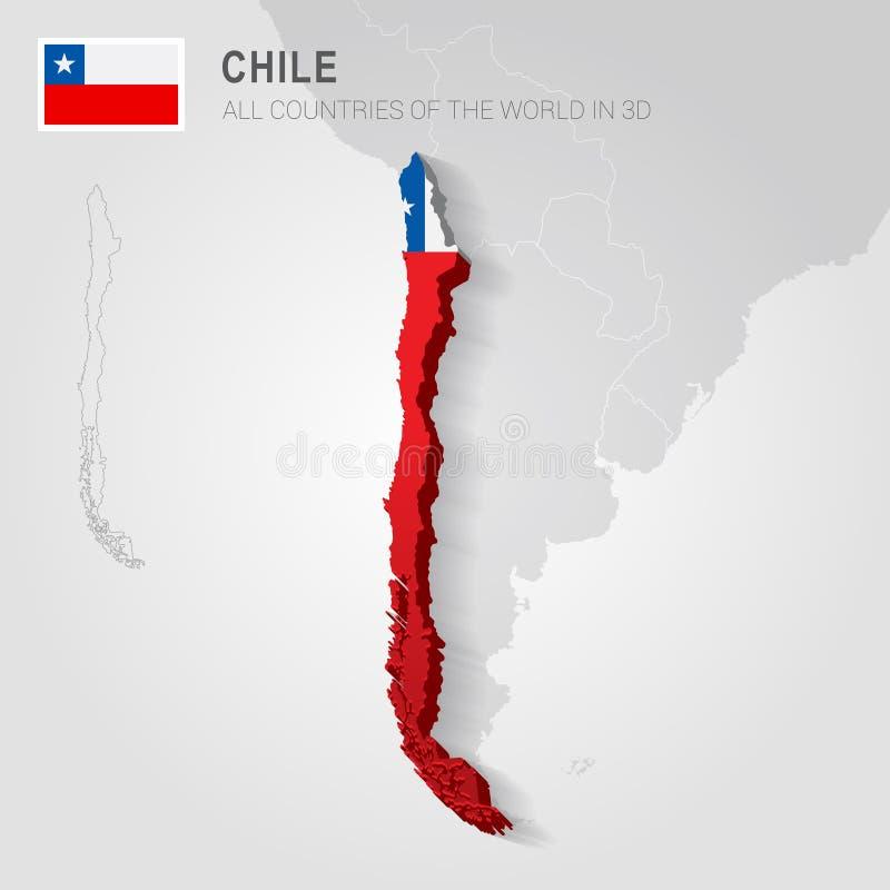 O Chile tirado no mapa cinzento ilustração do vetor