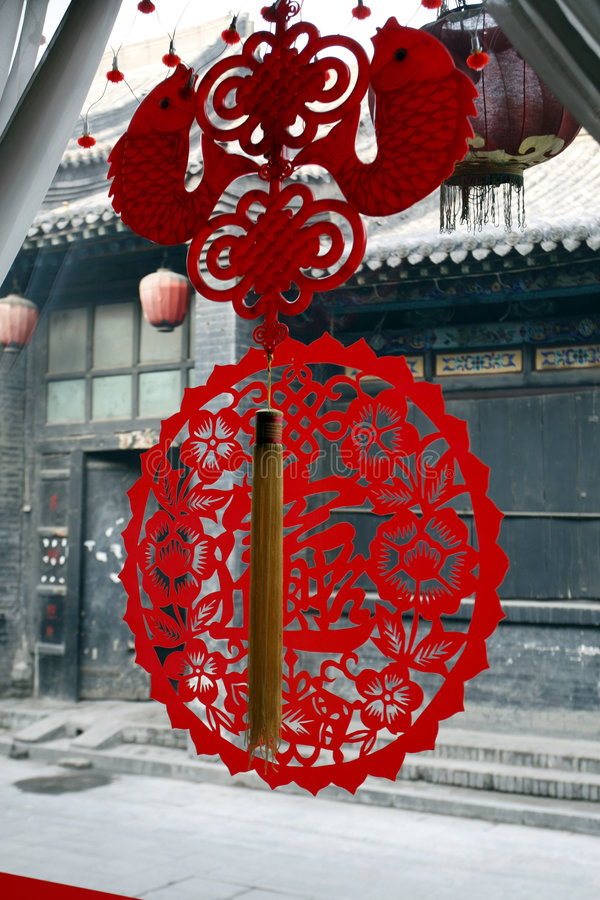 O chinês papel-cortou no indicador imagem de stock