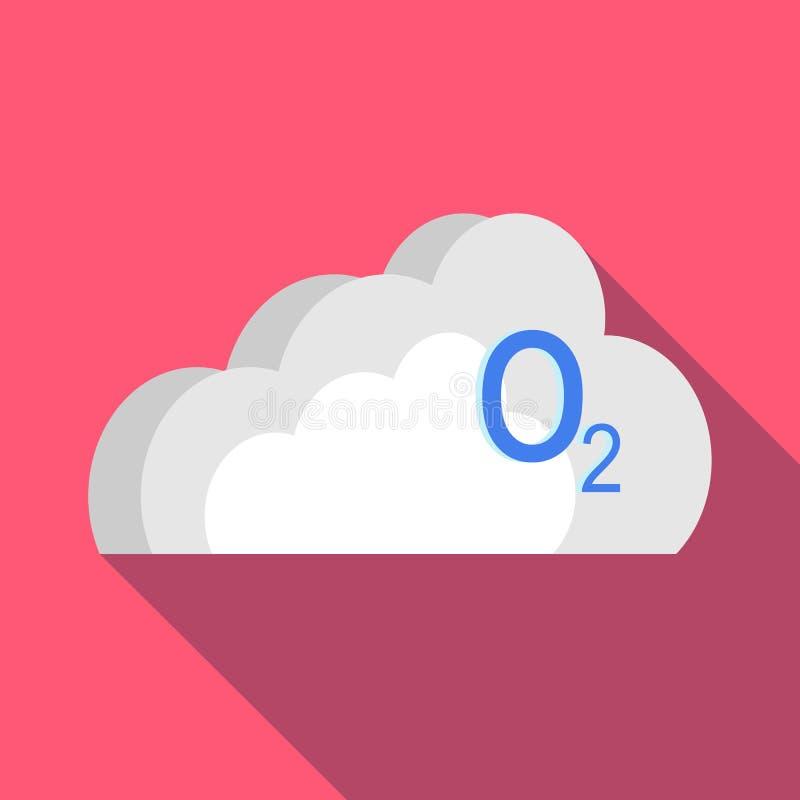 O2 chmury ikona w mieszkanie stylu royalty ilustracja