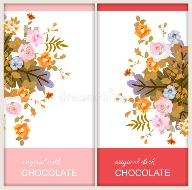 O chocolate barra projetos de pacote com os ramalhetes bonitos das flores no fundo branco Molde do cart?o do cumprimento ou do co ilustração royalty free