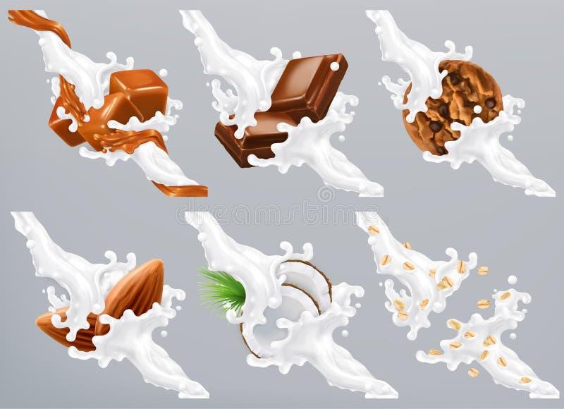 O chocolate, caramelo, coco, amêndoa, biscoito, aveia no leite espirra Vetor do iogurte 3d ilustração stock