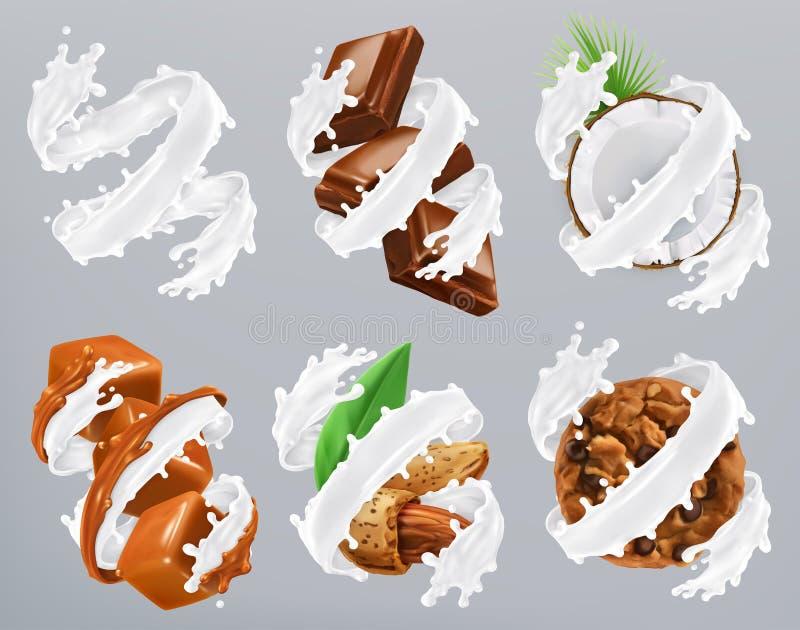 O chocolate, caramelo, coco, amêndoa, biscoitos no leite espirra Vetor do iogurte 3d ilustração do vetor
