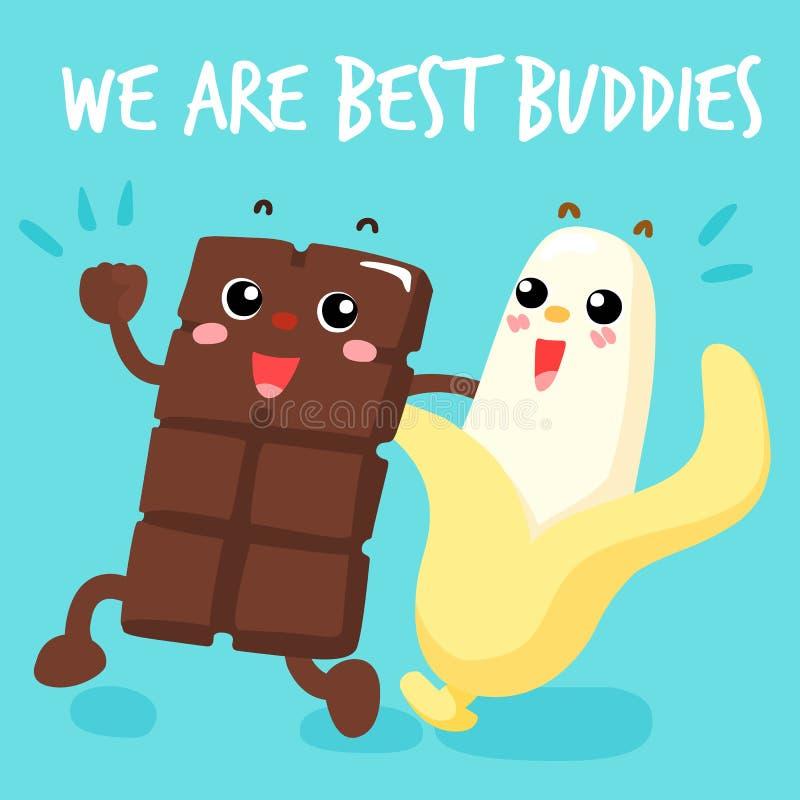 O chocolate e a banana são os melhores amigos ilustração do vetor