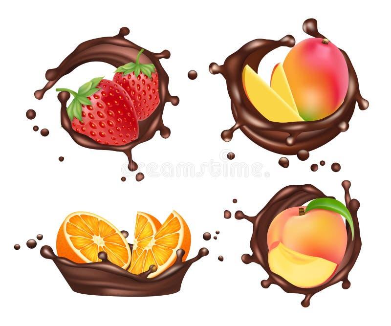 O chocolate espirra com os frutos e as bagas Laranja e pêssego realístico do vetor, manga e morango com leite de chocolate ilustração royalty free