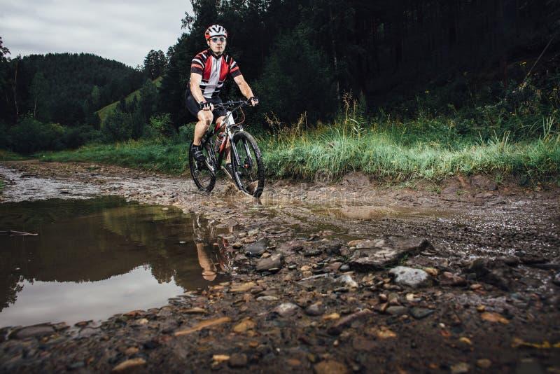 O ciclismo do homem novo no passeio do Mountain bike através dos campos foto de stock royalty free