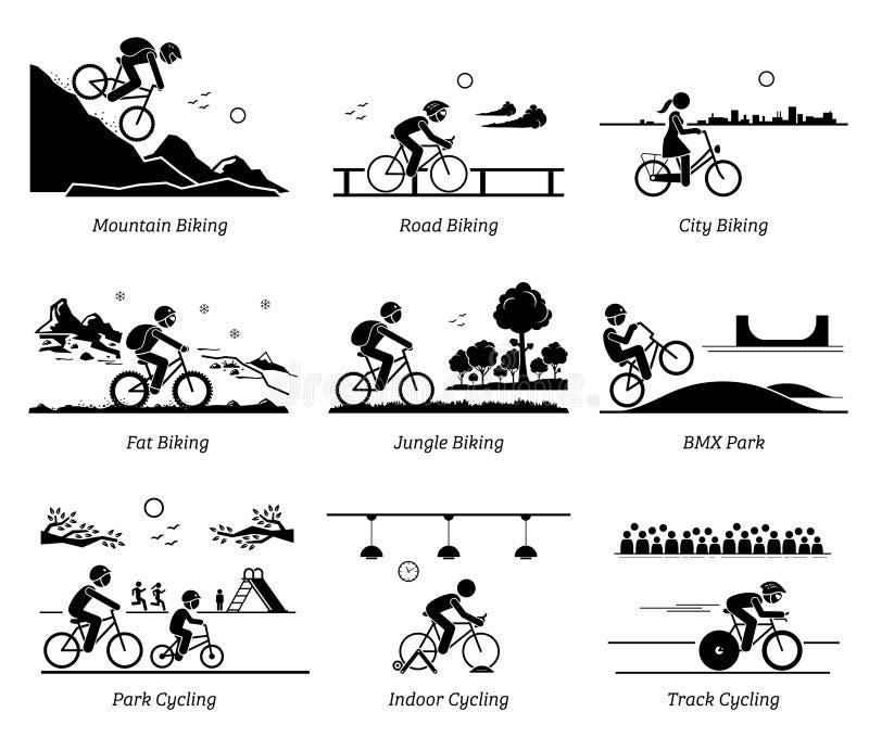 O ciclismo e a equitação do ciclista bicycle em lugares diferentes ilustração royalty free