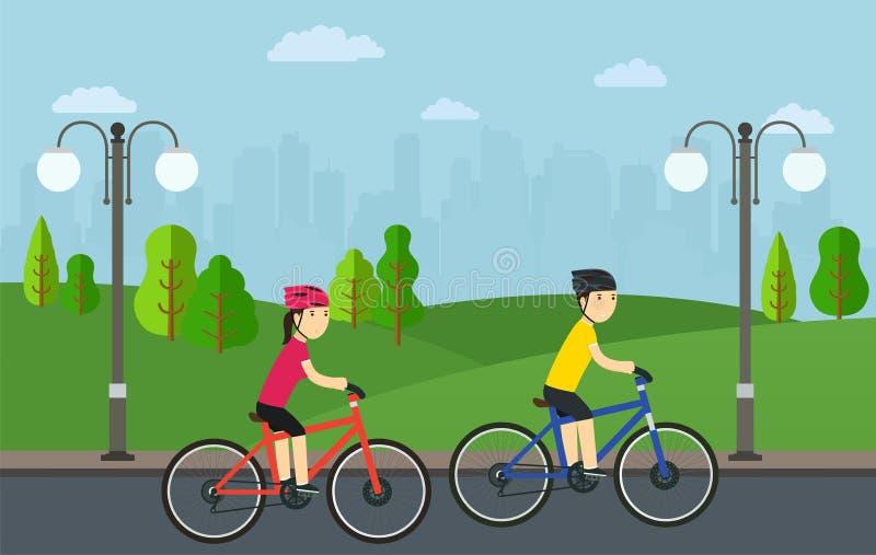 O ciclismo, homem com a mulher em bicicletas monta no parque da cidade ilustração royalty free