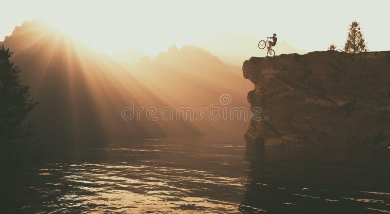 O ciclista acima da montanha ilustração stock