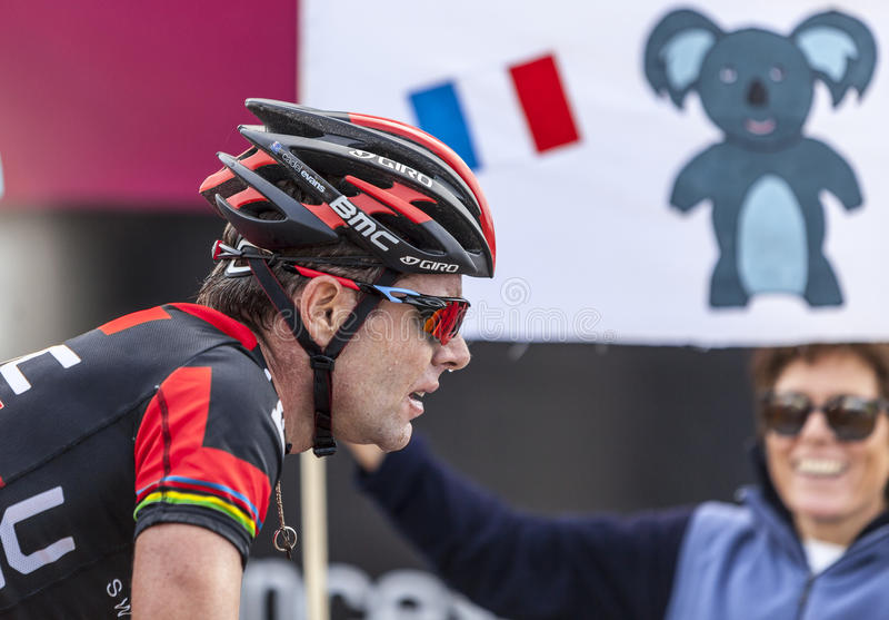 O ciclista Cadel Evans fotografia de stock