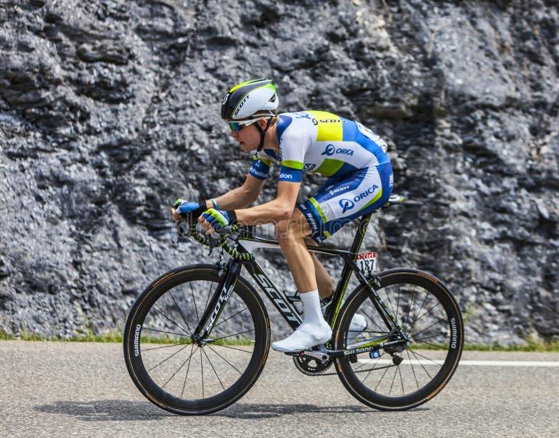 O ciclista Cameron Meyer foto de stock