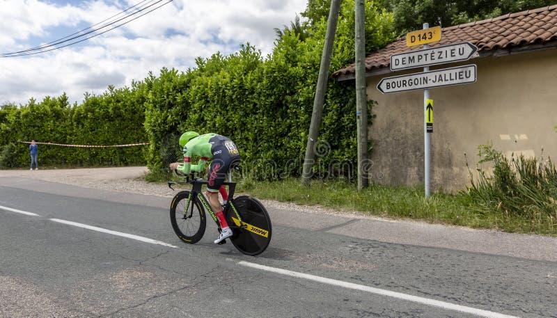 O ciclista Dylan van Baarle - Crit?rio du Dauphine 2017 fotos de stock
