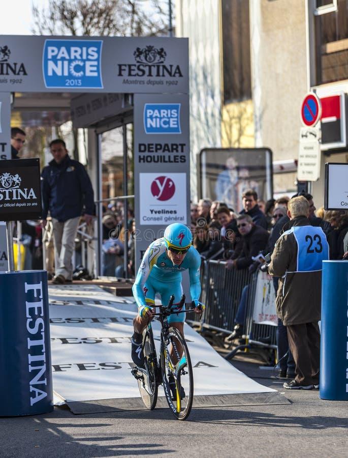 O Ciclista Gasparotto Enrico Paris 2013 Agradáveis Pro Imagem de Stock Editorial