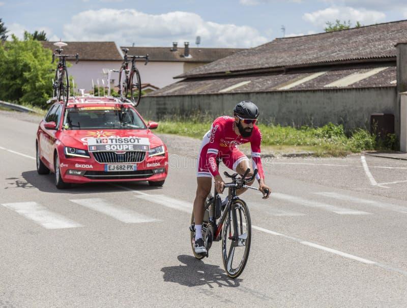 O ciclista Geoffrey Soupe - Critério du Dauphine 2017 foto de stock