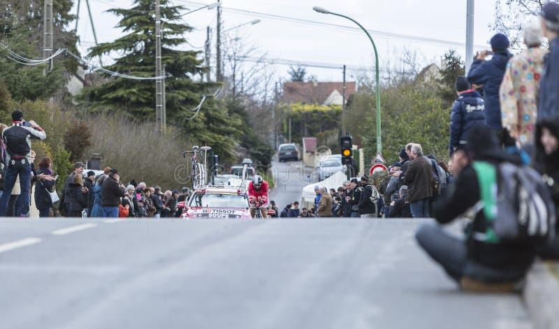 O ciclista Geoffrey Soupe - 2016 Paris-agradável imagens de stock