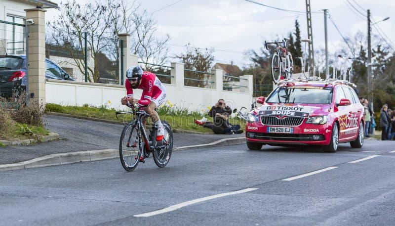 O ciclista Geoffrey Soupe - 2016 Paris-agradável imagem de stock