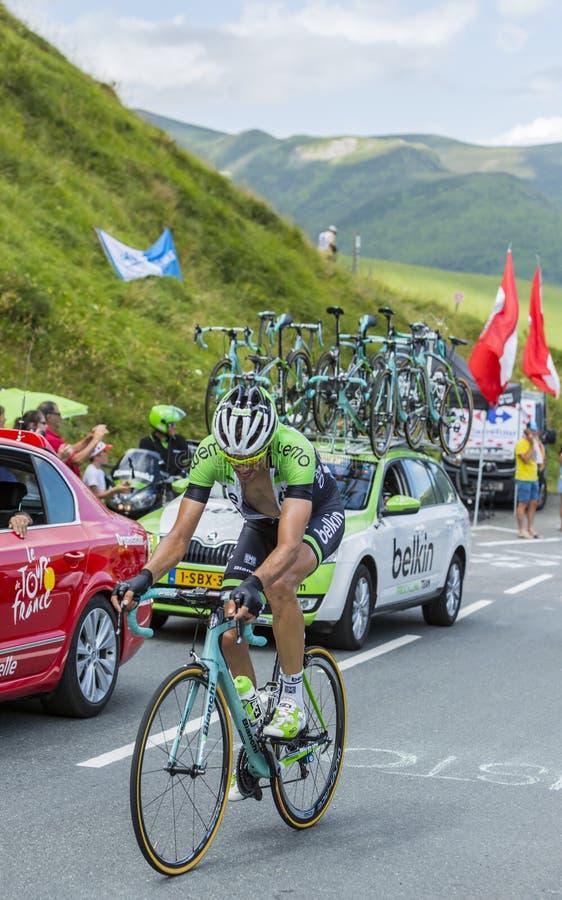 O ciclista Maarten Wynants no colo de Peyresourde - visite de Fran fotografia de stock royalty free