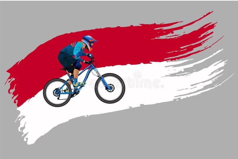 O ciclista na bandeira de Indonésia ilustração royalty free