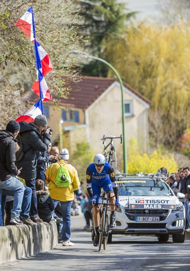 O ciclista Nikolas Maes - 2016 Paris-agradável imagens de stock
