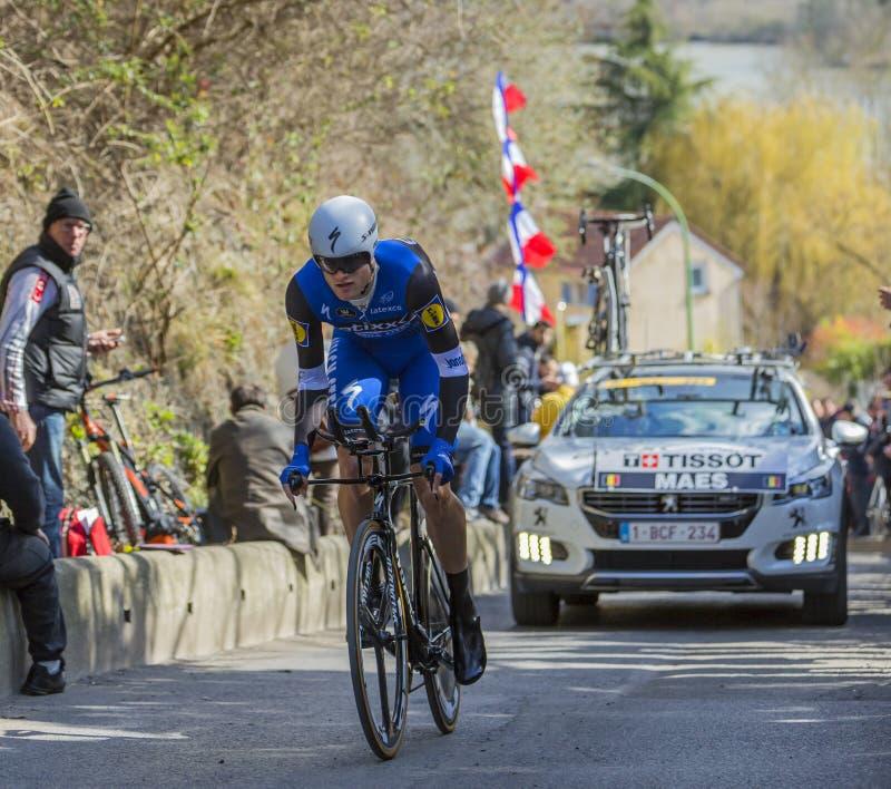 O ciclista Nikolas Maes - 2016 Paris-agradável fotografia de stock royalty free