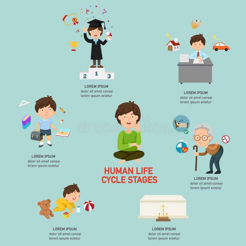 O ciclo de vida humano encena infographic ilustração stock