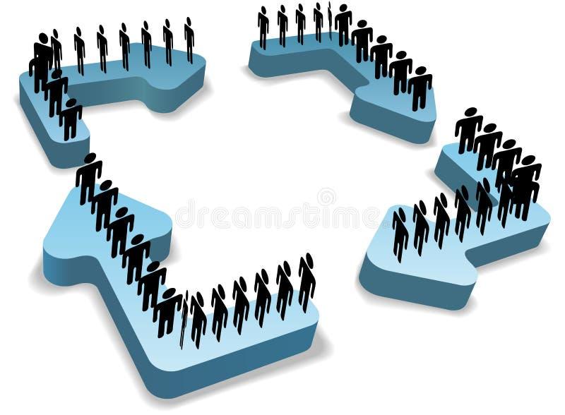 O ciclo dos povos do processo de fluxo do trabalho recicl setas ilustração royalty free