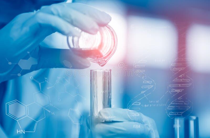 O cientista asiático novo é determinadas atividades na ciência experimental como produtos químicos ou os dados de mistura da entr foto de stock royalty free