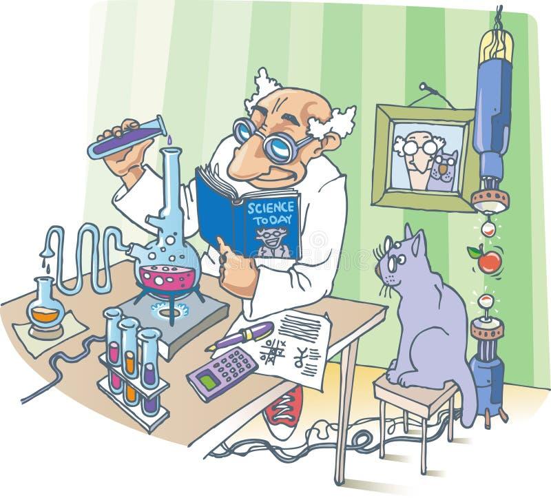 O cientista e seu gato ilustração royalty free