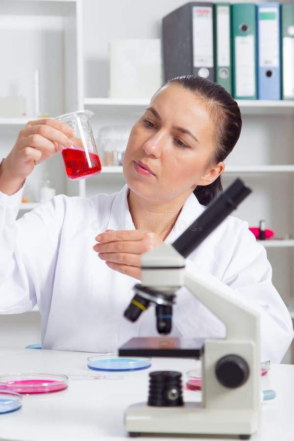 O cientista fêmea novo no laboratório, fazendo experimenta no laboratório fotos de stock