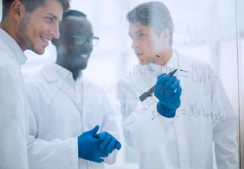 O cientista prometedor faz anotações na placa fotos de stock