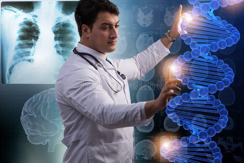 O cientista que estuda o ADN humano no laboratório imagem de stock royalty free