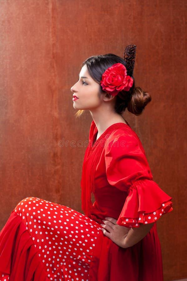 O cigano da mulher de Spain do dançarino do Flamenco com vermelho levantou-se fotos de stock royalty free