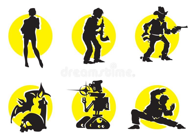 O cinema mostra em silhueta Icons_11 ilustração do vetor