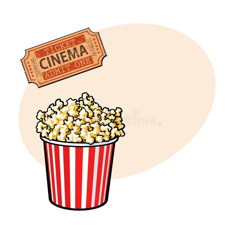 O cinema objeta - a cubeta da pipoca e o bilhete retro do estilo ilustração do vetor
