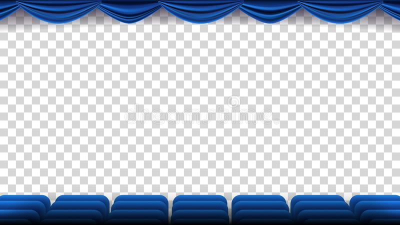 O cinema preside o vetor Filme, filme, teatro, auditório com Seat azul, cadeiras Molde do evento da premier Mostra super ilustração royalty free