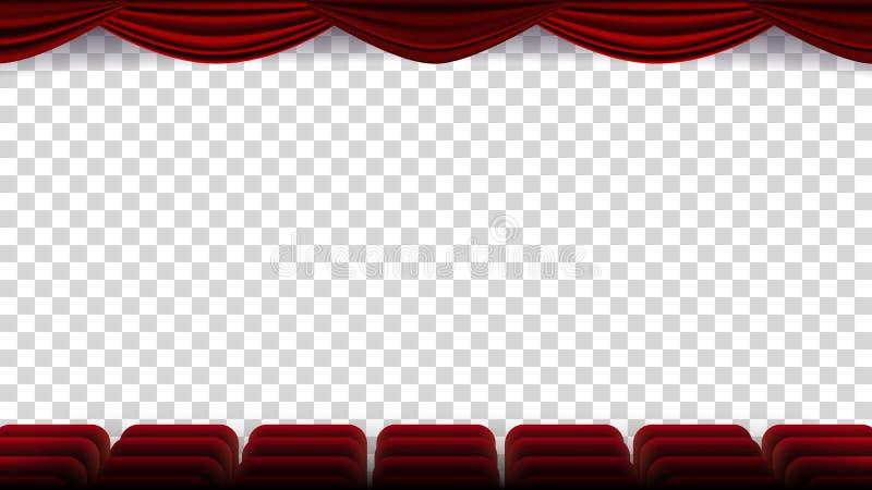 O cinema preside o vetor Filme, filme, teatro, auditório com Seat vermelho, fileira de cadeiras Tela em branco Em ilustração do vetor