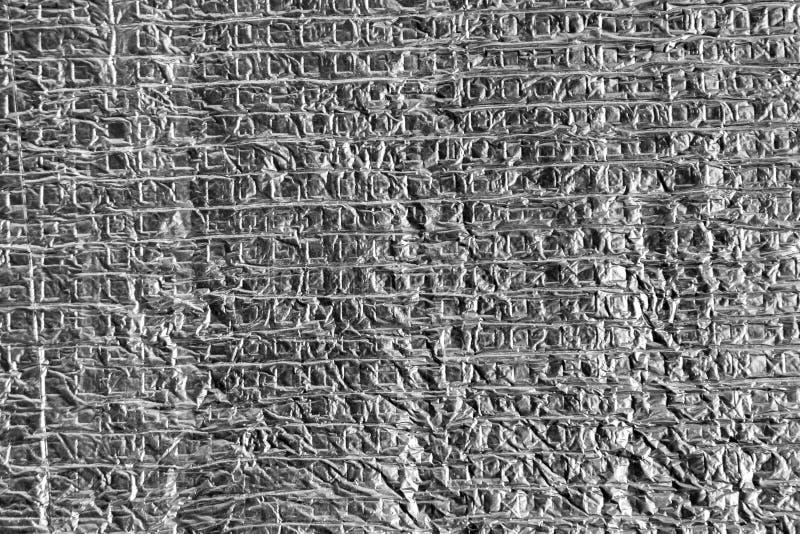 O cinza amarrotou a folha de alumínio com estrutura quadrada imagens de stock royalty free