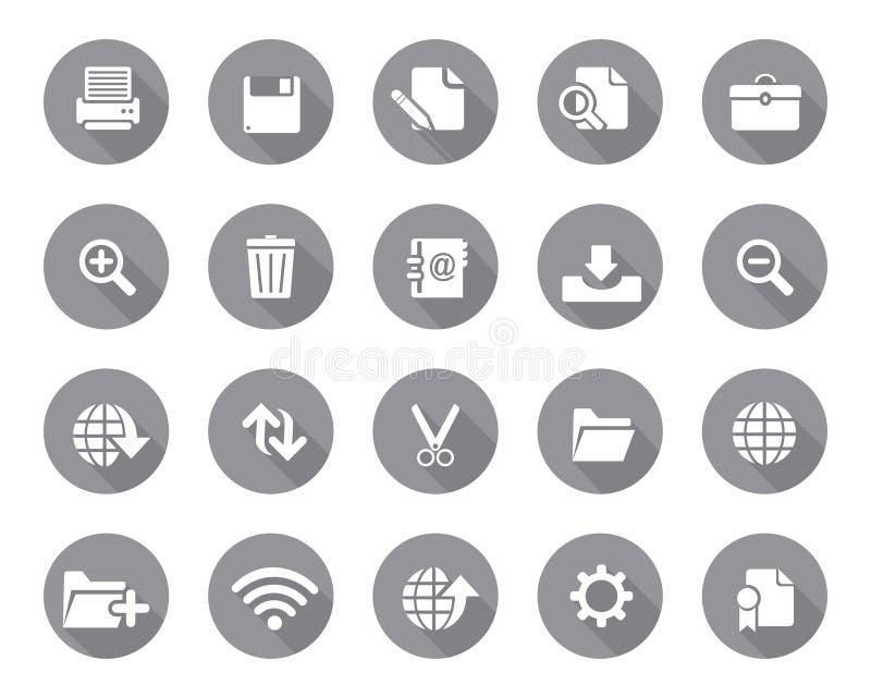 O cinza conservado em estoque do vetor arredondou ícones da Web e do escritório com sombra na alta resolução ilustração stock