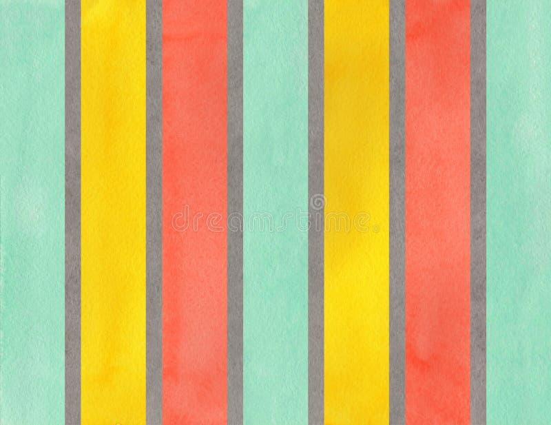 O cinza, os salmões, o amarelo e o seafoam da aquarela listraram o fundo ilustração do vetor