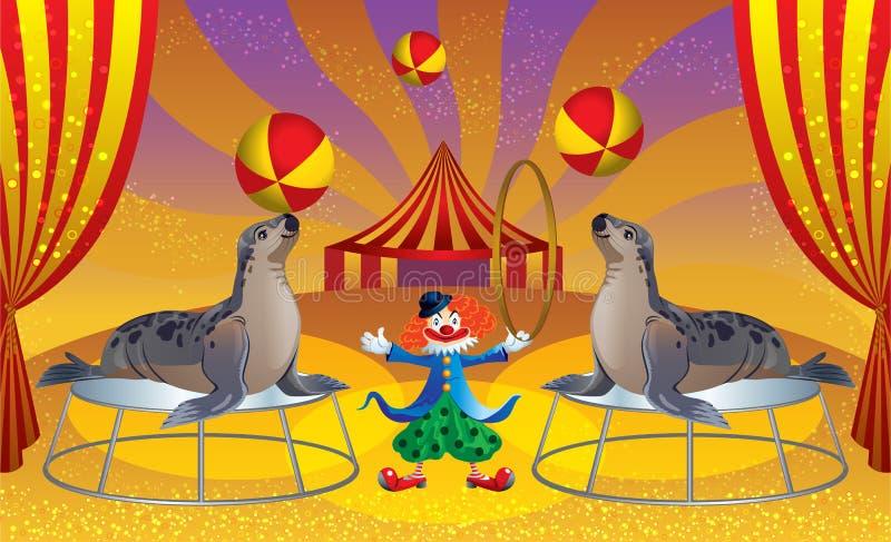 O circo com o palhaço e os selos ilustração do vetor