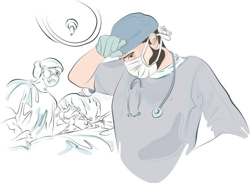 O cirurgião após a operação ilustração royalty free