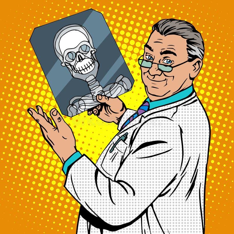 O cirurgião do doutor radiografa o crânio ilustração royalty free