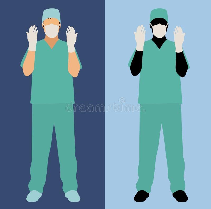 O cirurgião masculino esfrega dentro ilustração do vetor