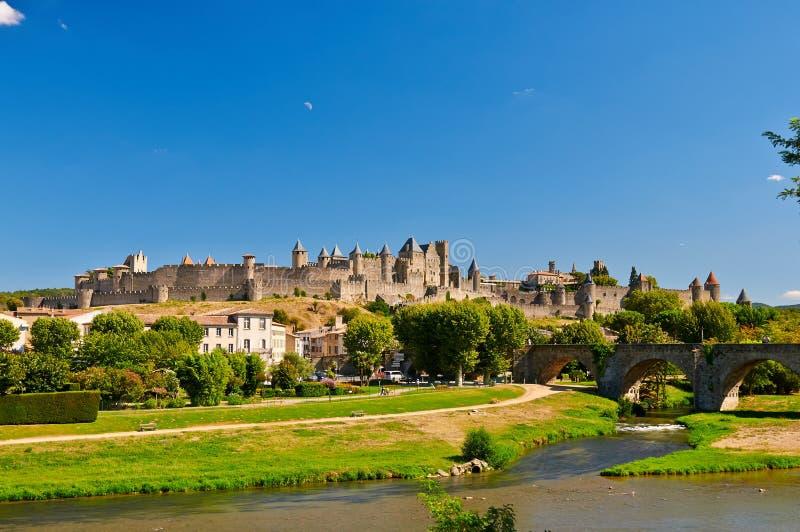 O Citte antigo de Carcassonne em França fotos de stock royalty free