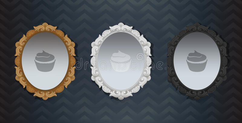 O clássico ornamentado preto branco de Hollywood do vintage do ouro moldou o espelho Elemento da decoração interior Três espelhos ilustração royalty free