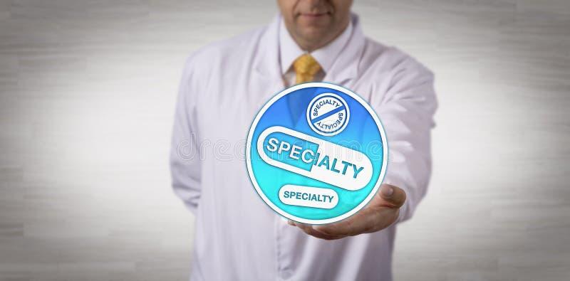 O clínico que apresenta a especialidade droga o ícone à disposição fotografia de stock
