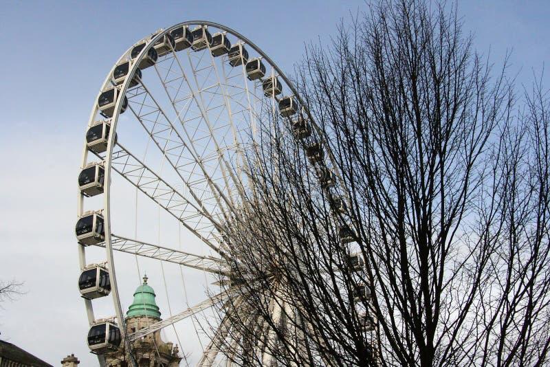 O clima controlou cápsulas da Belfast enorme que sightseeing roda dentro as terras da câmara municipal de Belfast em Irlanda do N imagens de stock