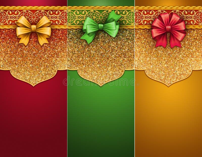 O clipart tradicional do Natal, presente etiqueta com a curva, etiquetas festivas, bandeiras vazias ilustração do vetor