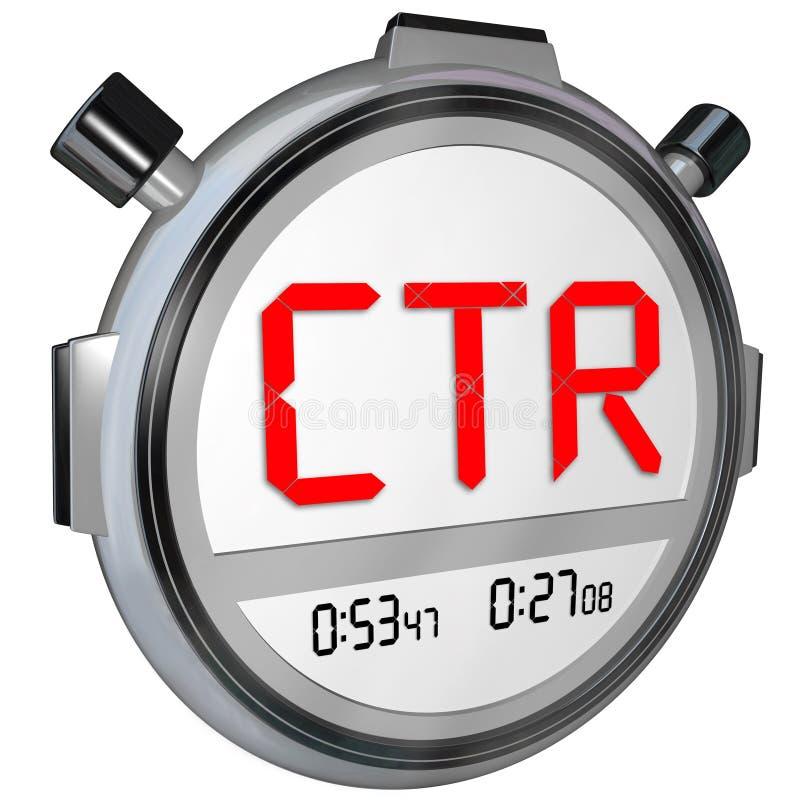 O clique do CTR através de Rate Stopwatch Timer Measure Online resulta vistas ilustração do vetor