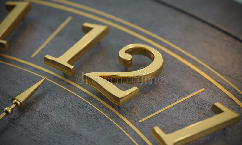 12 o`clock dial and time. 3d illustration. 12 o`clock dial and time. Golden numbers royalty free illustration