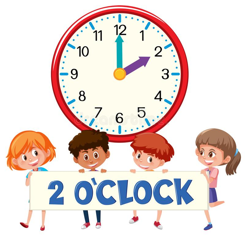 2 o`clock and students. Illustration vector illustration